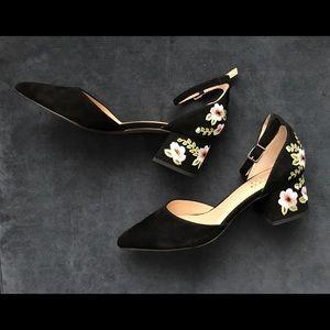 Franco Sarto Embroidery Low Chunky Heels
